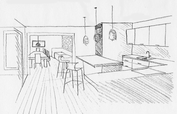 kitchen view sketch